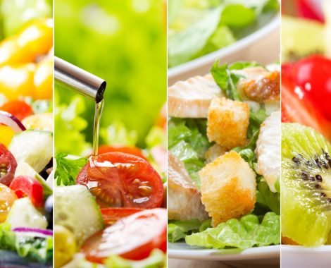 collage of various plates of salad